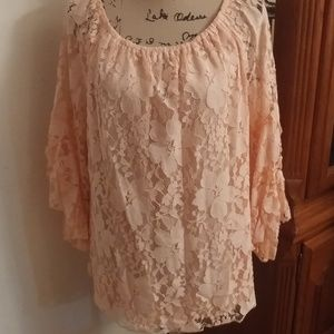 FEVER CORAL FLORAL LACE BELL SLEEVE TOP SZ LG